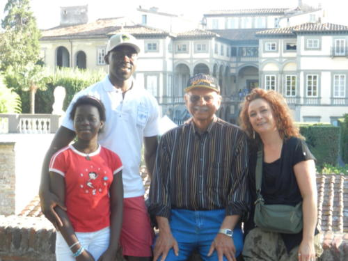 African Italian reenactor Ousmane , daughter and wife