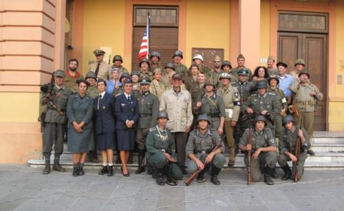 Reenactors in American and German uniforms